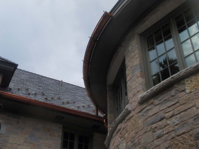 Custom made one piece Half Round Radius Gutter.JPG